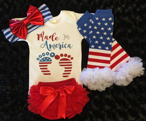 "Baby Girl 4th of July outfit ""made in america"""