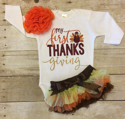 "Infant Thanksgiving Outfit ""My First Thanksgiving"""