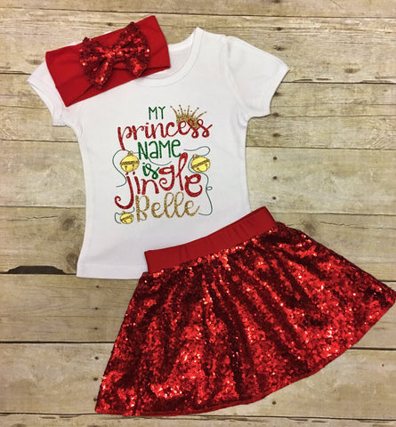 Girls Toddler Christmas Dress, Girls Princess Shirt, Girls Christmas Outfit, Christmas Shirt, Sequin Skirt, Girls Santa Outfit, Jingle Bells, Toddler Christmas Outfit