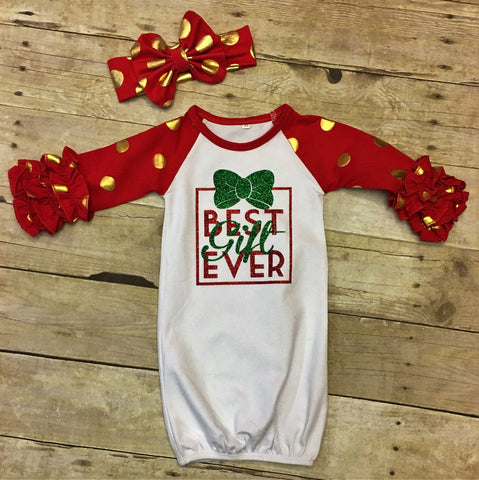 "Baby Girl Christmas Outfit ""Best Gift Ever"""