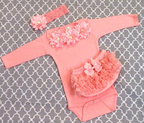 Newborn Girl Pink Bodysuit & Headband Set