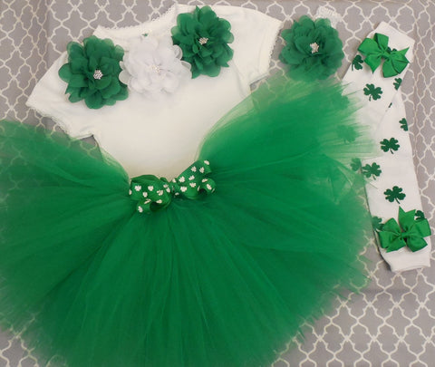 Girls St. Patrick's Day Outfit - Green and White Shamrocks-Tutu Set