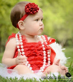 Girl Baby Red Lace Romper