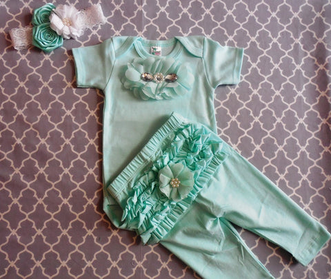 Newborn Girl Mint Green Set