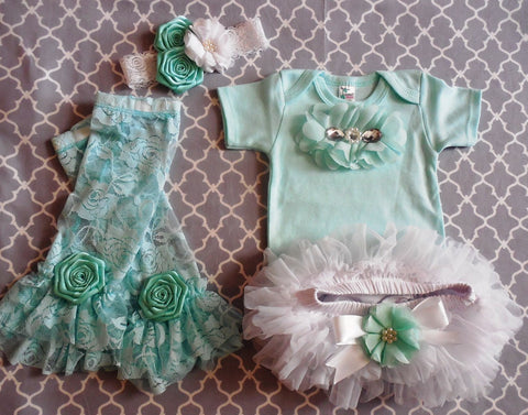 Newborn Girl Coming Home Mint Green Couture Outfit