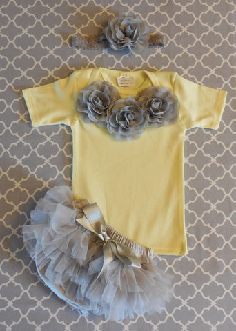 Newborn Girl Take Home Outfit/Yellow and Gray