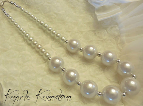 Girls Pearl White Necklace