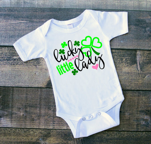 St Patricks Day Lucky Little Lady Bodysuit