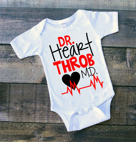 "Toddler Boy Customized Shirt ""Dr. Heart Throb MD"""