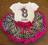 Girls Pink Zebra Birthday Outfit