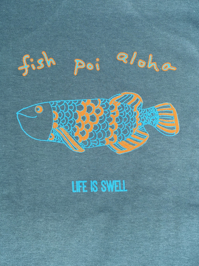 "NEW! 100% ORGANIC Cotton Youth ""Fish Poi Aloha"" Tee"