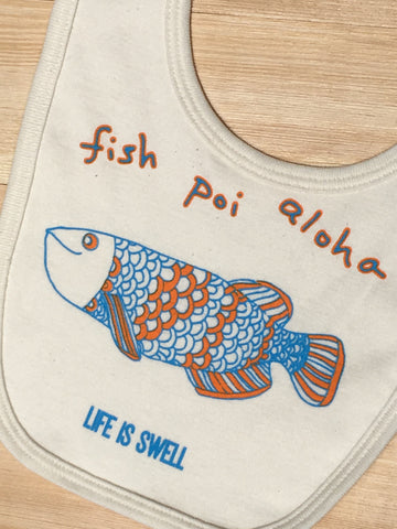 "NEW! ""Fish Poi Aloha"" ORGANIC COTTON or BAMBOO Baby Bib"