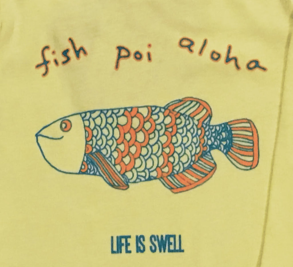 """Fish, Poi, Aloha"" 100% ORGANIC Cotton Baby Long Sleeve Lapover Shirt"