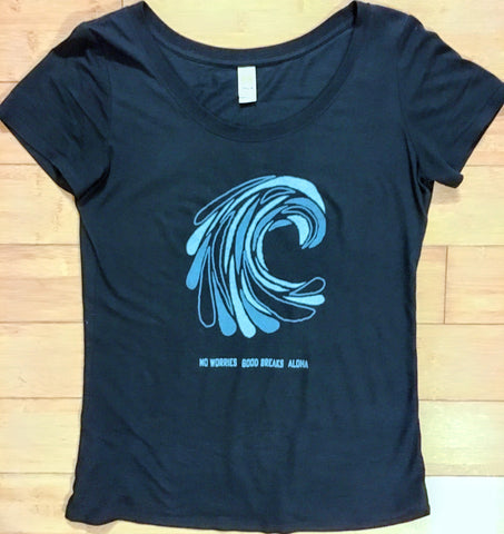 """Wavedrops"" BAMBOO & ORGANIC Cotton Ladies Scoop Tee"
