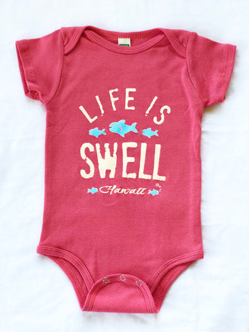"""Big Swell, Little Fish - Hawaii"" 100% Organic Cotton Baby Onesie"