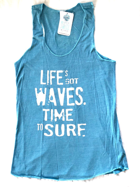 """Life's Got Waves. Time to Surf."" Women's Eco Blend Racerback Tanks"