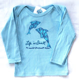 """Dolphin Love"" 100% ORGANIC Cotton Baby Long Sleeve Lapover Shirt"