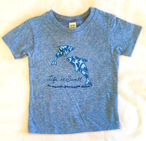 """Dolphin Love"" Eco Triblend  Babies and Toddlers Jersey Tee"