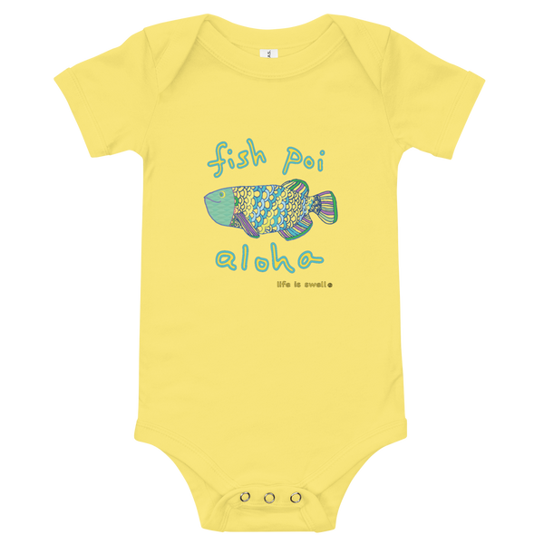 """Fish, Poi, Aloha"" 100% Cotton Baby Onesie"
