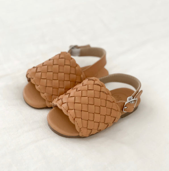 Woven Tan Sandal | Mini Wild Flower