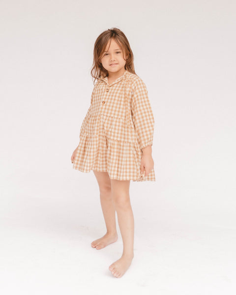 Mini Avalon Smock Dress | Caramel Gingham