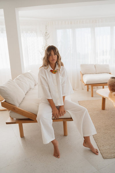 Linen Button Up | White | Summi Summi