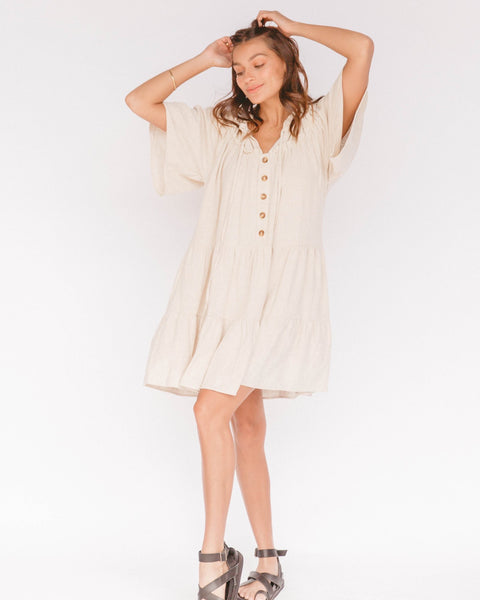 NIKITA TIERED DRESS Oat | The Lullaby Club