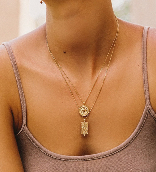 TIGERS EYE COIN NECKLACE 18K GOLD VERMEIL | Kirstin Ash