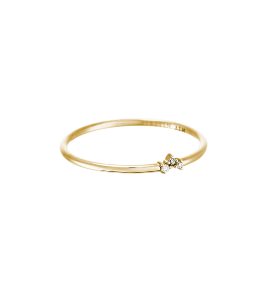 TINY DIAMOND TRIO RING 14K GOLD