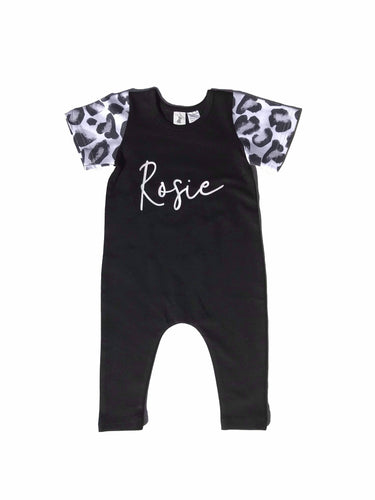 Script Personalised Black Romper with Leopard Sleeves