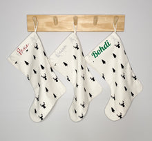 Wolfie Christmas Personalised Santa Stocking SMALL - Trees and Reindeers