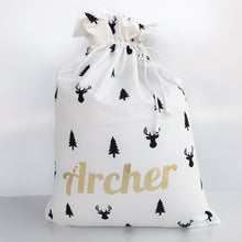 Wolfie Christmas Personalised Santa Sack - Reindeers and Trees