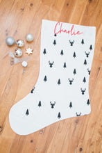 Wolfie Christmas Personalised Santa Stocking - Trees and Reindeers