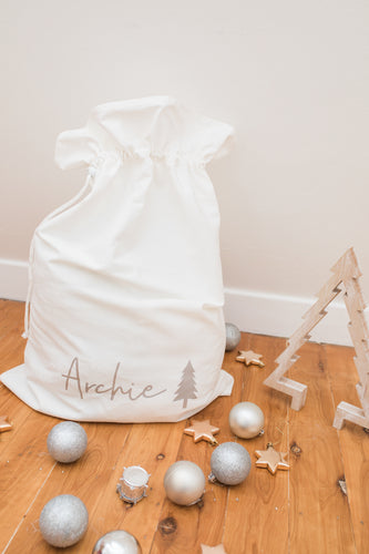 Wolfie Christmas Personalised Plain Santa Sack