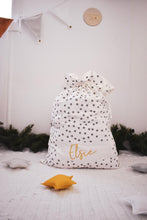 Wolfie Christmas Personalised Santa Sack - Grey Polka Dot
