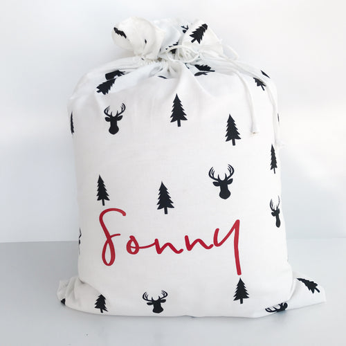 ***SECONDS QUALITY - Wolfie Christmas Personalised Santa Sack - Reindeers and Trees