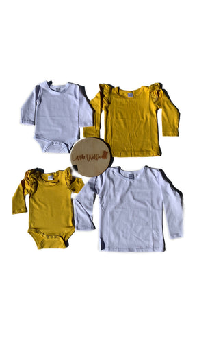 Mustard Long Sleeve Flutter Tops and Onesies