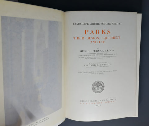 Parks - Their Design, Equipment and Use by George Burnap, Cover Page.