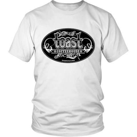 Toast Coffeehouse black & white logo t-shirt on a white shirt