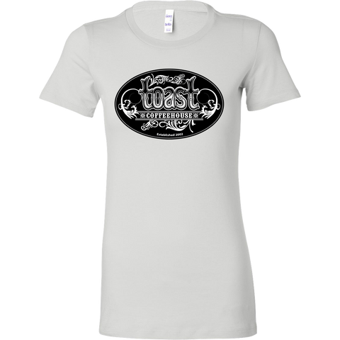 Toast Coffeehouse black and white logo on a Women's fitted white t-shirt