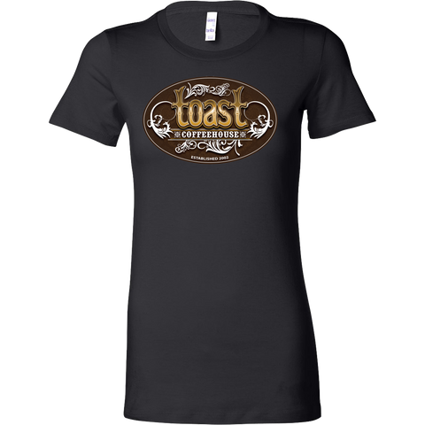Toast Coffeehouse color logo on a women's fitted brown t-shirt
