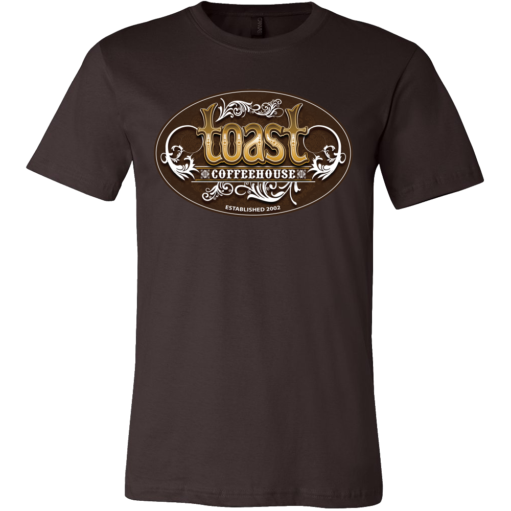 Toast Coffeehouse color logo on a brown t-shirt