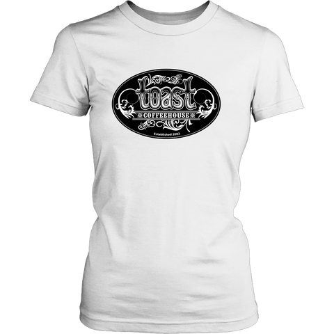 Toast Coffeehouse black and white logo on a women's relaxed, white t-shirt