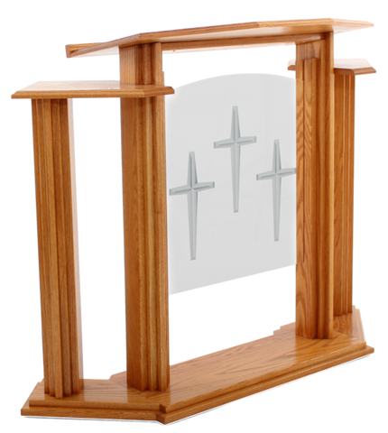 Wood and Acrylic Pulpit with Wings