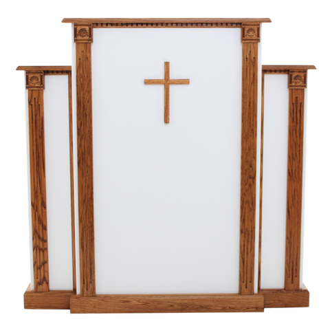 White Church Wood Pulpit with Cross