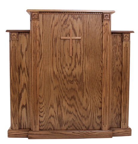 Traditional Style Church Wood Pulpit with Cross