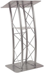 Metal Truss Lectern 4 Post Curved. Color: Silver