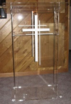 Acrylic Church Lectern with Shelf and Three Cross Logo
