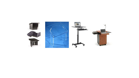 Are You Teaching Virtually? Then A Tabletop Lectern or Presentation AV Cart Is For You.