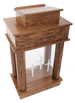 Wood with Acrylic Column Pulpit 810 Exhorter-Wood With Acrylic Pulpits, Podiums and Lecterns-Podiums Direct